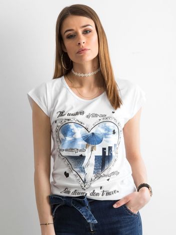 Bawełniany t-shirt damski z nadrukiem biały