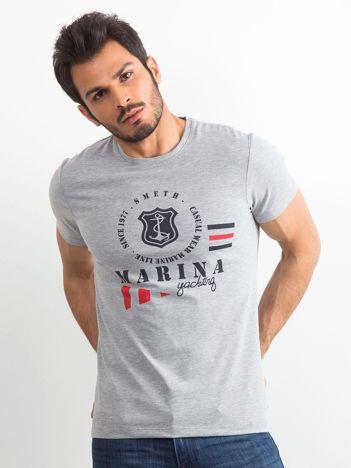 Bawełniany t-shirt męski z nadrukiem szary