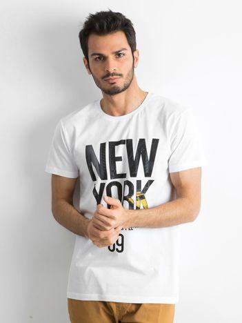Bawełniany t-shirt męski z printem biały