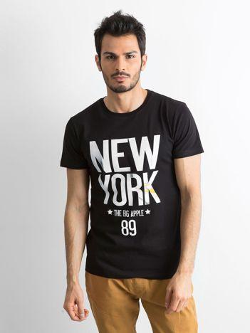 Bawełniany t-shirt męski z printem czarny