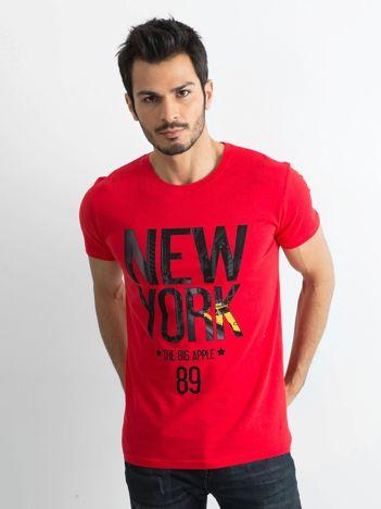 Bawełniany t-shirt męski z printem czerwony
