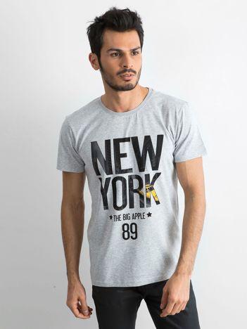 Bawełniany t-shirt męski z printem szary