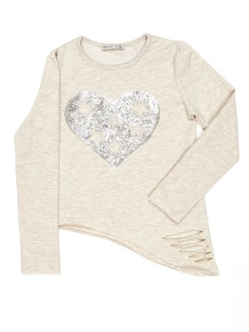 Beżowa asymetryczna bluzka dziewczęca z cekinowym sercem