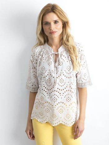 Beżowa ażurowa bluzka