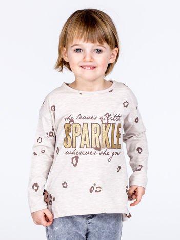 Beżowa bawełniana bluzka dziewczęca z nadrukiem i kokardkami