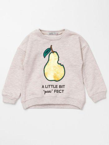 Beżowa bluza dresowa dla dziewczynki z cekinami