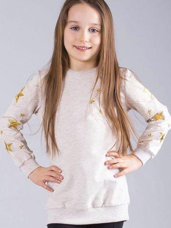 Beżowa bluza dziecięca w gwiazdki