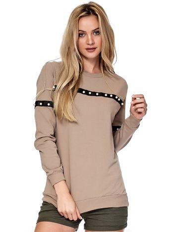 Beżowa bluza z aplikacją z perełek