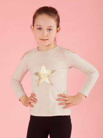 Beżowa bluzka dla dziewczynki z dżetami