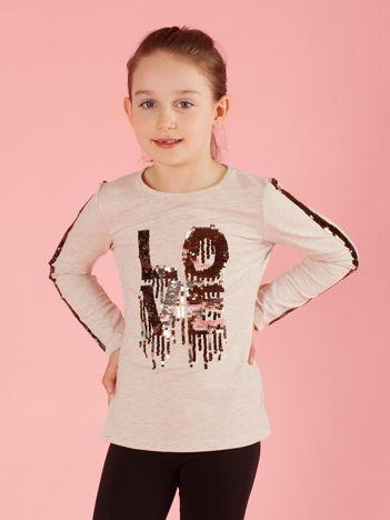 Beżowa bluzka dziecięca z cekinami