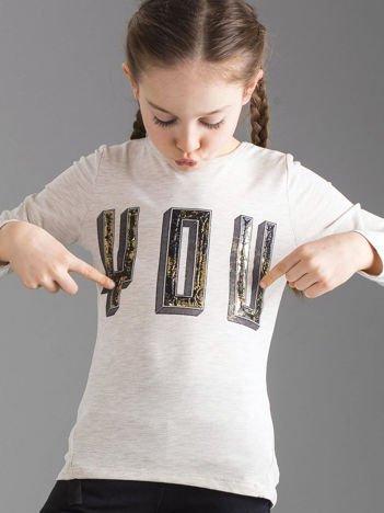 Beżowa bluzka dziewczęca z aplikacją