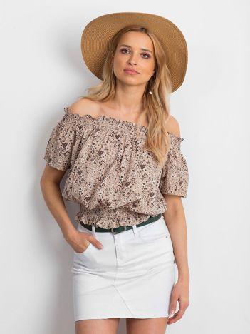 Beżowa bluzka hiszpanka w drobny kwiatowy wzór