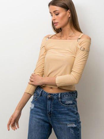 Beżowa bluzka z ozdobnymi paskami