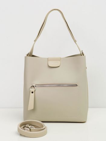 Beżowa damska torba ze skóry ekologicznej