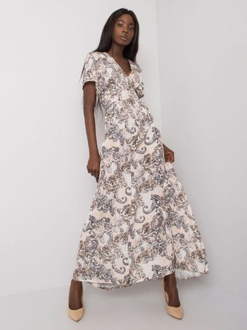 Beżowa długa sukienka we wzory Marielle RUE PARIS