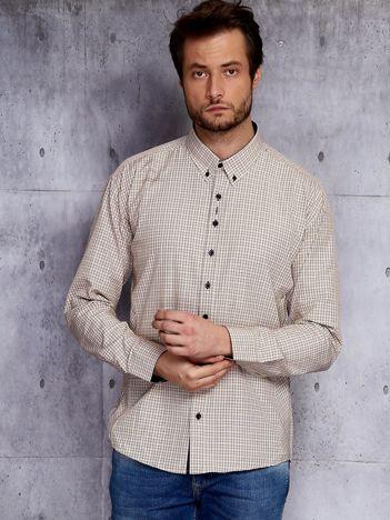 Beżowa koszula męska w drobną kratę