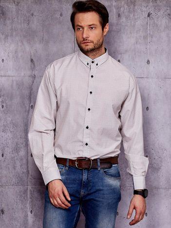 Beżowa koszula męska w kratkę PLUS SIZE