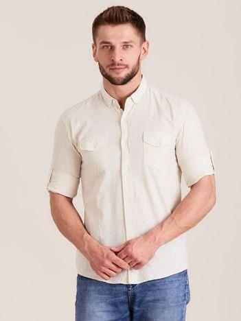 Beżowa koszula męska z bawełny