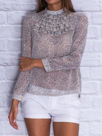 Beżowa koszula w drobny wzór z żabotem