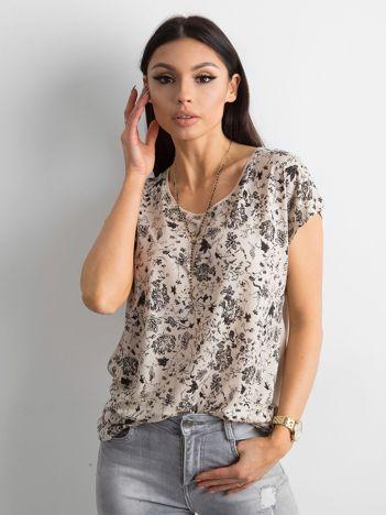 Beżowa koszulka z nadrukiem
