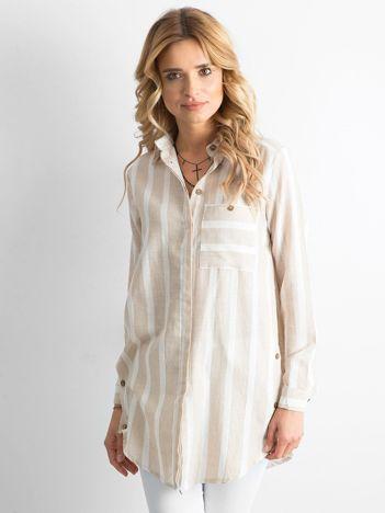 Beżowa koszulowa tunika w paski