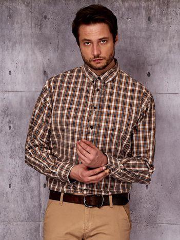 Beżowa kraciasta koszula męska