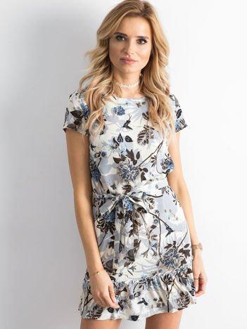 Beżowa kwiatowa sukienka z paskiem