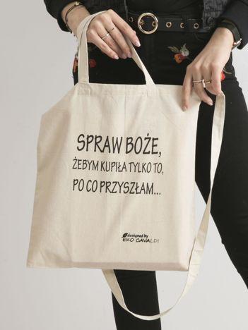 Beżowa materiałowa torba z napisem