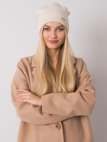 Beżowa melanżowa czapka typu beanie RUE PARIS