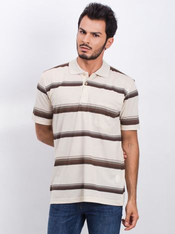 Beżowa męska koszulka polo Restrained