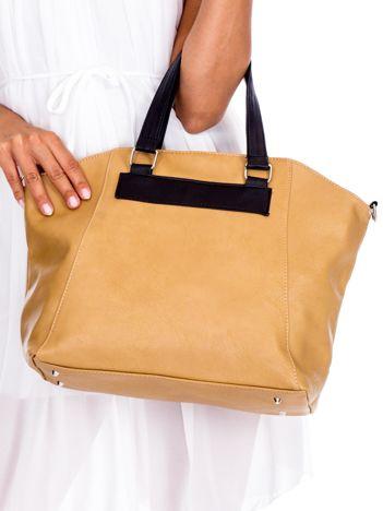 Beżowa miękka torba shopperka z czarnymi uchwytami