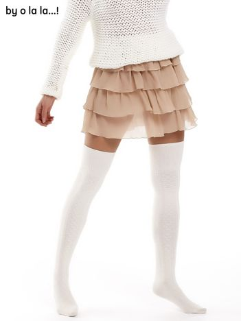 Beżowa plisowana spódnica z warstwowymi falbanami BY O LA LA