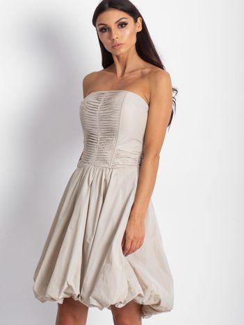 Beżowa rozkloszowana sukienka