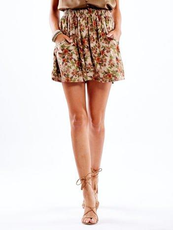 Beżowa spódnica w kwiatowe wzory