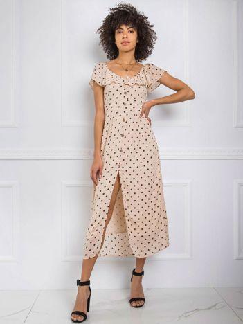 Beżowa sukienka Fergie RUE PARIS