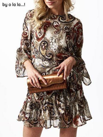 Beżowa sukienka mgiełka z szerokimi rękawami BY O LA LA