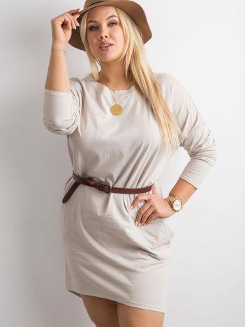 Beżowa sukienka oversize z bawełny