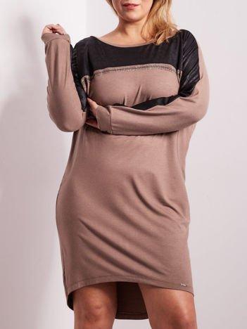 Beżowa sukienka z dżetami i długim rękawem PLUS SIZE