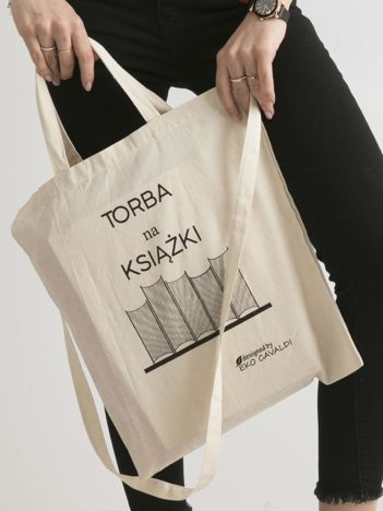 Beżowa torba bawełniana z nadrukiem TORBA NA KSIĄŻKI
