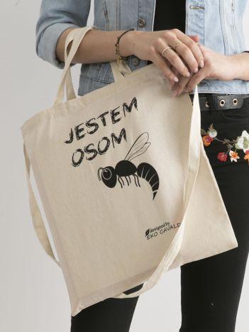 Beżowa torba materiałowa JESTEM OSOM