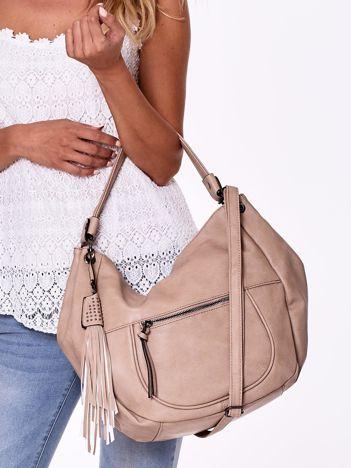 Beżowa torba na ramię z chwostem