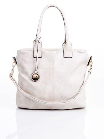 Beżowa torba shopper bag z odpinanym paskiem