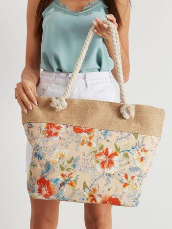 Beżowa torba shopper w kwiaty