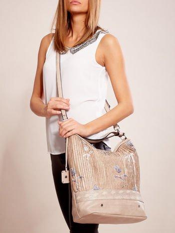 Beżowa torba z łączonych materiałów w stylu japońskim