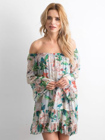 Beżowa zwiewna sukienka hiszpanka w kwiaty