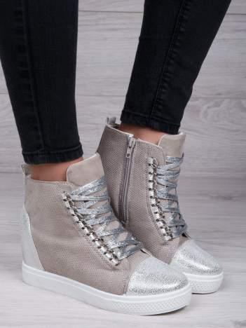 Beżowe ażurowe sneakersy Ginger ze srebrnymi wstawkami z przodu i z tyłu buta