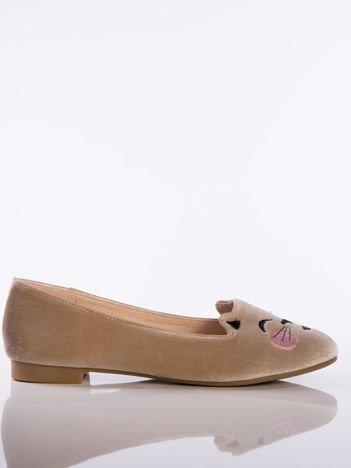 Beżowe baleriny z satyny, z wizerunkiem kotka na przodzie buta