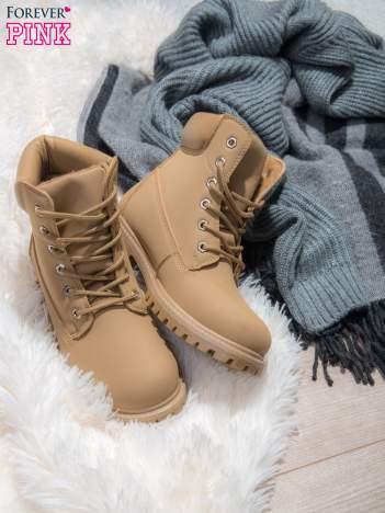 Beżowe buty trekkingowe damskie traperki ocieplane