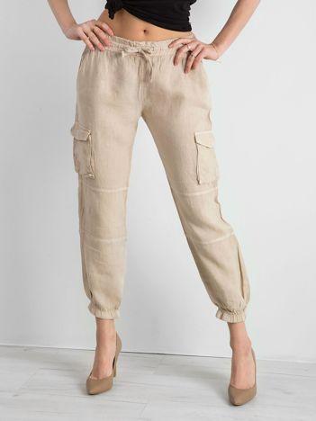 Beżowe lniane spodnie cargo