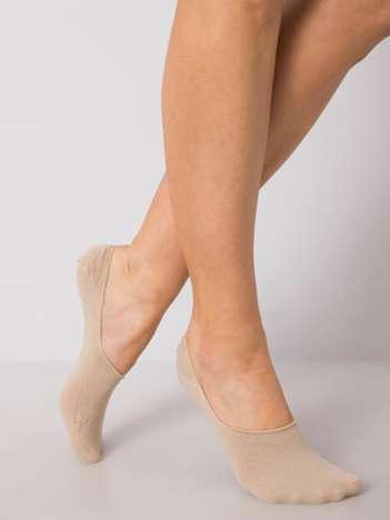 Beżowe skarpetki stopki z bawełny
